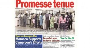 La Une de Cameroon Tribune Edition du 22 Janvier 2016