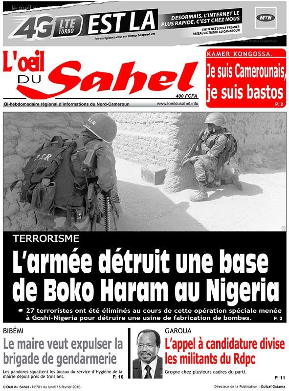 La Une de L'Oeil du Sahel du 15 février 2016